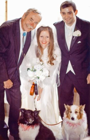 Forest wedding photo w dogs
