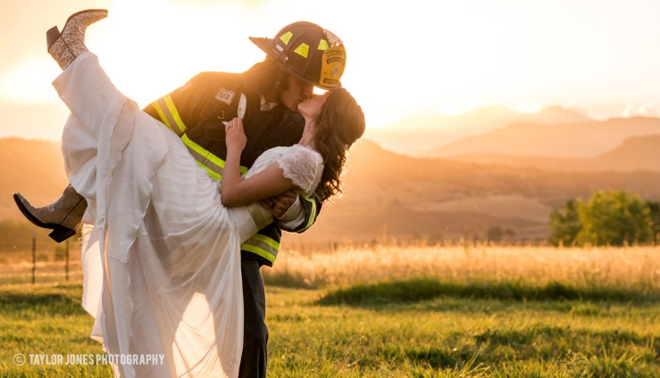 Salida Colorado Wedding with firefighter